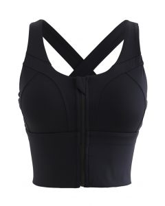 Cross Back Zipper Front Panelled Sports Bra in Black