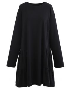 Frilling Dolly Mini Dress in Black