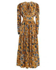 V-Neck Puff Shoulders Floral Maxi Dress in Mustard