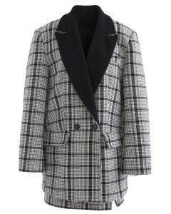 Plaid Wool-Blend Coat and Bud Mini Skirt Set