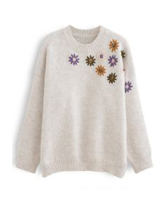 Crew Neck Floral Embroidered Knit Sweater in Ivory