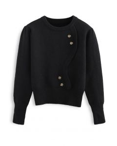 Wavy Front Buttoned Knit Sweater in Black