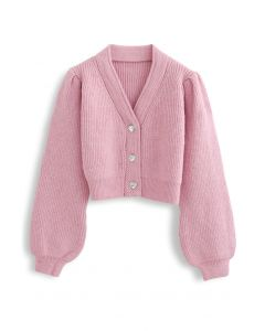 Crystal Button Puff Sleeves Crop Cardigan in Pink