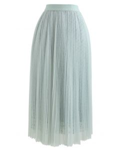 Starry Double-Layered Pleated Tulle Midi Skirt in Mint
