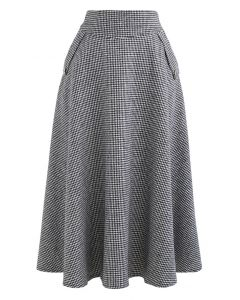 Houndstooth Wool-Blend A-Line Flare Skirt in Black