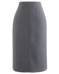 Split Fuzzy Rib Skirt in Grey