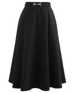 Horsebit Waist Seam Detail Flare Skirt in Black