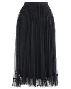 Hi-Lo Mesh Hem Pleated Skirt in Black