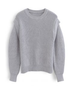 Soft Hue Round Neck Rib Knit Sweater in Dusty Blue
