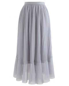 Lightsome Chiffon Pleated Midi Skirt in Grey