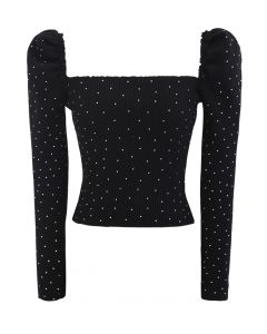 Flickering Square Neck Fitted Crop Knit Top in Black