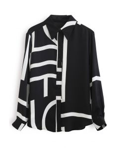 Mixed Stripe Hi-Lo Hem Shirt in Black