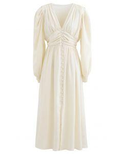 Puff Shoulder Ruched Button Down Chiffon Dress in Cream