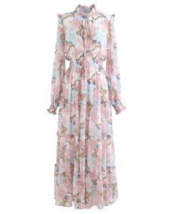 Pink Lily Blossom Chiffon Maxi Dress