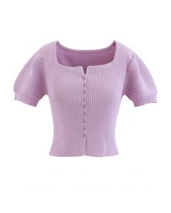 Short Sleeves Button Down Fitted Knit Top in Lilac