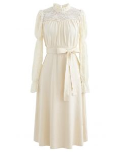 Lace Panelled Belted Knit Dress in Cream