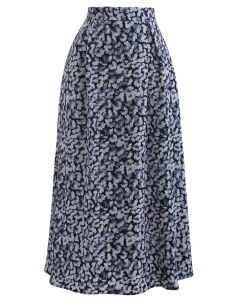 Tumbling Flowers Printed A-Line Midi Skirt in Blue