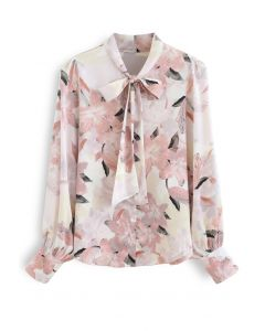Pink Lily Blossom Watercolor Bowknot Shirt