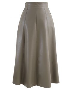 Soft Faux Leather Seamed A-Line Skirt in Taupe