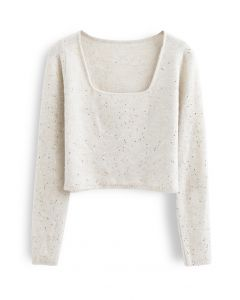 Sequins Square Neck Fluffy Crop Knit Top in Ivory