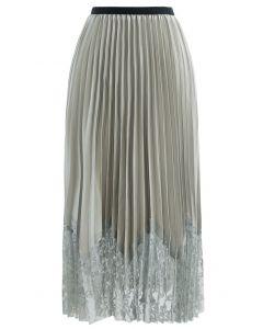 Pleated Sheen Flower Lace Hem Midi Skirt in Olive