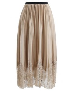 Pleated Sheen Flower Lace Hem Midi Skirt in Tan
