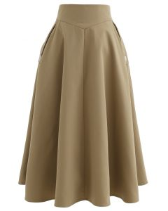 Classic Simplicity A-Line Midi Skirt in Tan