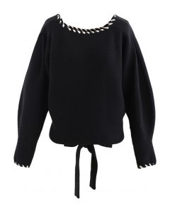 Braid Edge Bowknot Puff Sleeves Sweater in Black