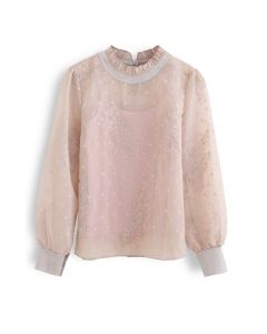 Butterfly Dots Embroidered Organza Sheer Top in Dusty Pink