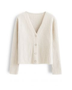 Cozy V-Neck Ribbed Knit Cardigan in Cream