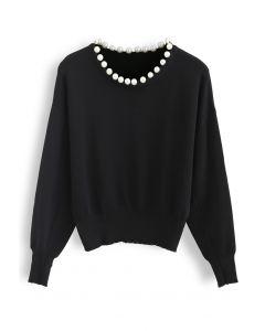 Pearls Trim Round Neck Knit Top in Black