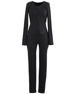 Fitted Zipper Front Top and Skinny Pants Set in Black