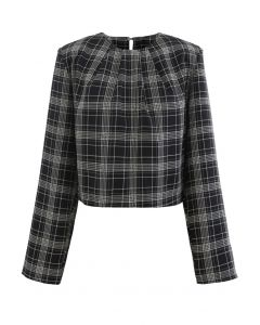 Padded Shoulder Plaid Cropped Mock Top in Black