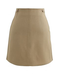 Double Buttons Bud Mini Skirt in Tan