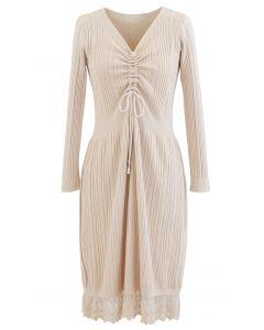 Lace Hem V-Neck Drawstring Rib Knit Dress in Cream