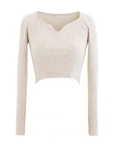 Square Neck Crop Fitted Rib Knit Top in Sand