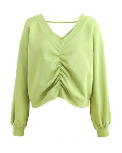 Drawstring V-Neck Long Sleeves Top in Lime