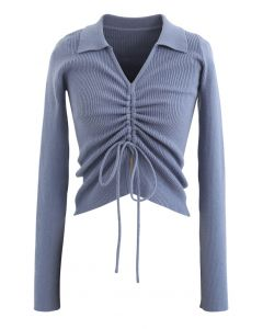 Drawstring Collared Fitted Knit Top in Blue