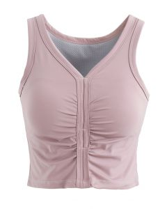 V-Neck Low-Impact Sports Bra in Light Pink