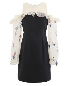 Cold-Shoulder Embroidered Posy Mesh Spliced Dress