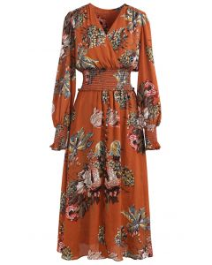 Blooming Bouquet Satin Button Down Wrap Midi Dress in Orange