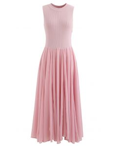 Knit Spliced Sleeveless Maxi Dress in Pink