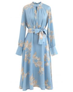 Grab the Spotlight Floral Bowknot Satin Dress in Blue