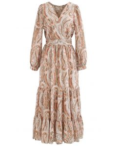 Paisley Floral Boho Wrap Frilling Dress in Coral