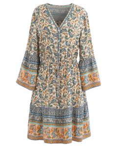 Shell Button Drawstring Waist Floral Boho Mini Dress