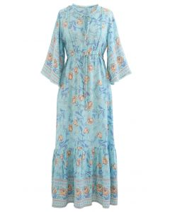 V-Neck Flare Sleeve Floral Frilling Dress in Blue