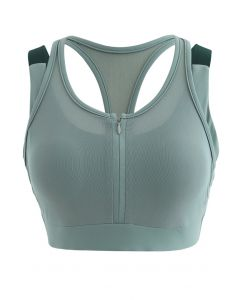 Mesh Zipper Cross Back Medium-Impact Sports Bra in Green