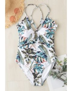 Lace-Up Back Tropical Palm Ruffle Swimsuit