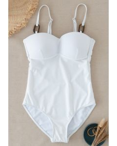Bustier Open Back One-Piece Swimsuit in White