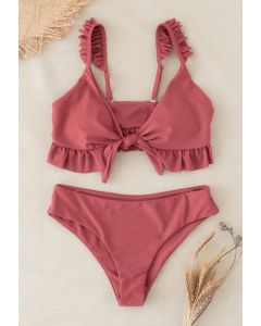 Knot Front Ruffle High-Waisted Bikini Set